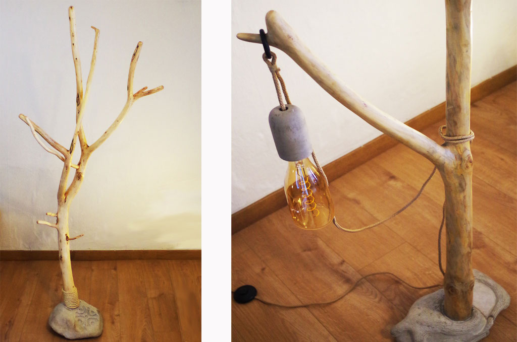 lamps and stand of natural wood and stone